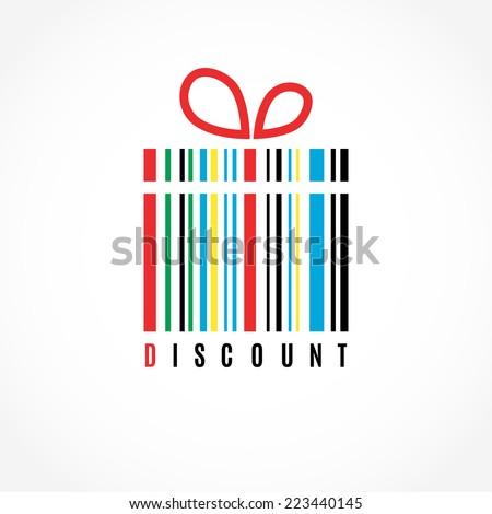 Discount. Present  barcode vector image. Logo design.   - stock vector