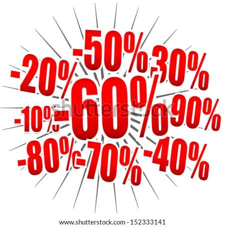Discount - Price Explosion - stock vector