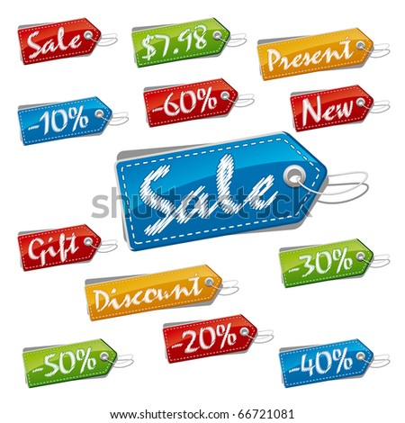 Discount, Sale and Price Stitched Labels. Vector Illustration (EPS v.8.0) - stock vector