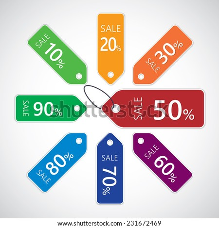 Discount sale tags with percent off isolated on white background. Vector illustration - stock vector