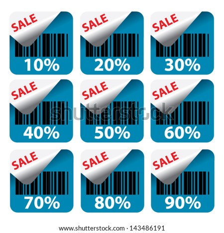 Discount sky blue labels and stickers sale 10 - 90 percent. Vector. - stock vector