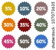 Discount Stars Set - Colorful discount star labels within a nine piece set - stock vector