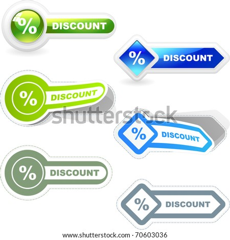 Discount. Sticker and button set for sale. Vector illustration.