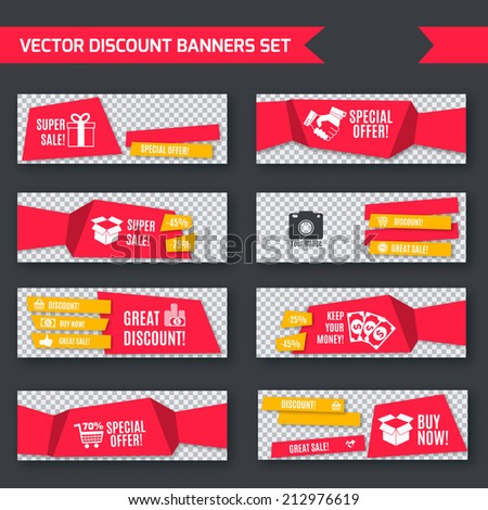 Discount super sale special offer red paper banners set isolated vector illustration - stock vector
