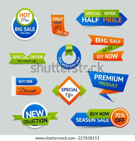 Discount super sale special offer retro color origami ribbon banner set isolated vector illustration - stock vector
