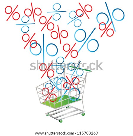 Discount symbolized by percentage signs falling into a shopping cart, vector illustration - stock vector
