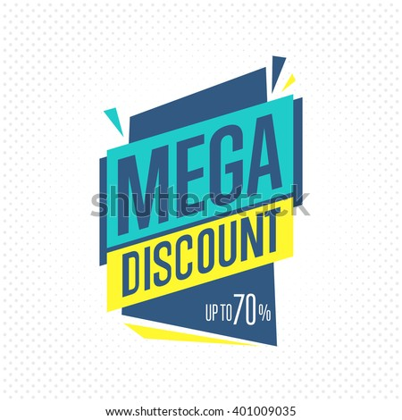 Discount tag. Mega discount badge. Special offer tag. Discount label. Sale tag. Isolated mega discount tag. Vector tag of discount guaranteed. Discount icon. Flat tag. Tag template. Mega discount tag - stock vector