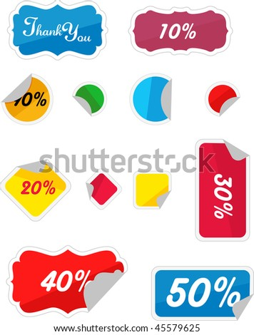 Discount tags set vector illustration