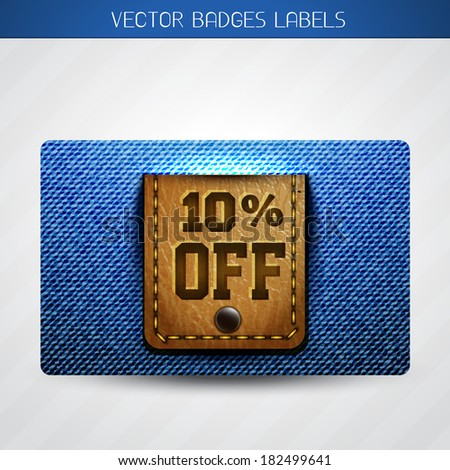 discount vector label of jeans and leather design - stock vector
