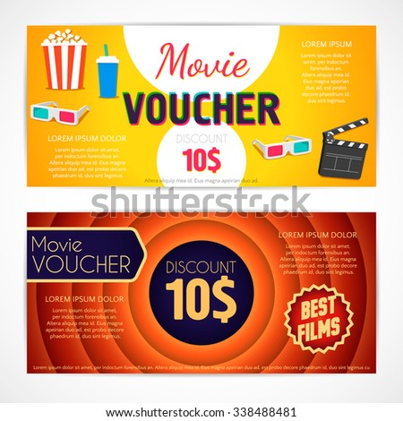 Discount voucher movie template, cinema gift certificate, coupon template. Vector design - stock vector
