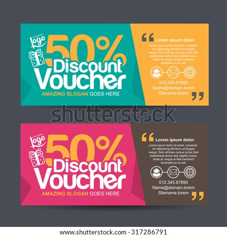discount voucher template with colorful pattern,cute gift voucher certificate coupon design template,Collection gift certificate business card banner calling card poster,Vector illustration - stock vector
