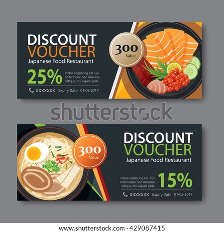 discount voucher template with japanese food flat design - stock vector