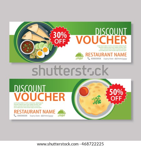 Discount Voucher Template Japanese Food Flat Stock Vector