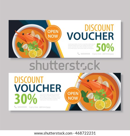Discount Voucher Template With Thai Food Flat Design  Lunch Voucher Template