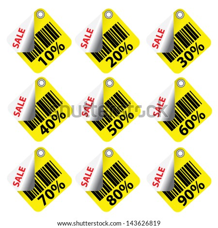 Discount yellow labels and stickers sale 10 - 90 percent. Vector. - stock vector