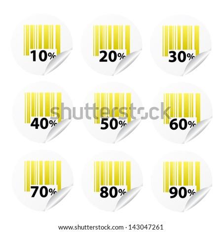 Discount yellow labels sale 10 - 90 percent. Vector. - stock vector