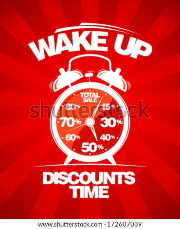 Discounts time. Red sale design with alarm clock. - stock vector