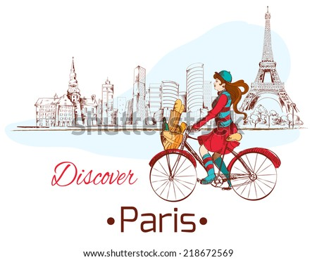 Discover Paris sketch poster with girl on bike and eiffel tower vector illustration - stock vector