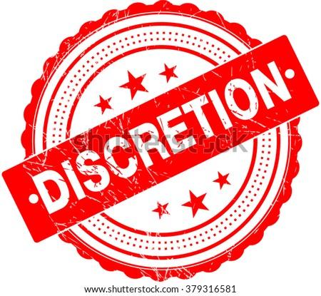 Discretion Premium Quality Rubber Stamp - stock vector