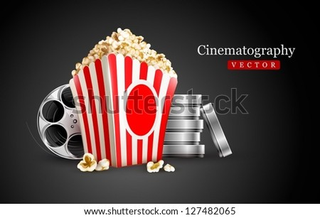 discs with film tape reel and popcorn vector illustration on the black background EPS10. Transparent objects used for shadows and lights drawing. Vector Illustration. - stock vector