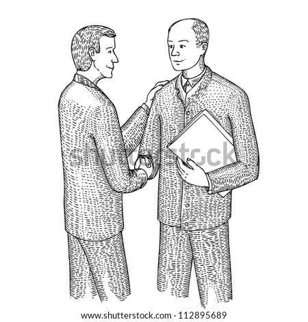 Discussion of two men - stock vector
