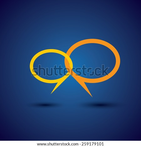 discussion & open dialogue - concept vector line icon. This chat or talk symbol or speech bubble also represents intimate relationship, deep communication, love talk, close interaction - stock vector