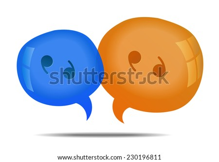 Discussion - speech bubbles. Cloud talk. Vector illustration, fully editable, you can change form and color - stock vector