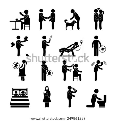 Diseases and infection transmission way set with pictogram people isolated vector illustration - stock vector