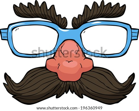 Disguise glasses on white background vector illustration - stock vector