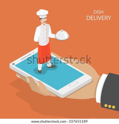 Dish fast delivery flat isometric vector concept.  Mans hand takes a mobile phone with chef on it, that holds the dish on his hand. Food delivery service. - stock vector
