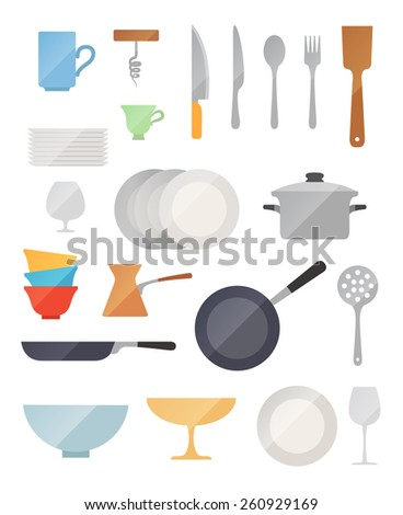 Dish flat vector set on white background - stock vector