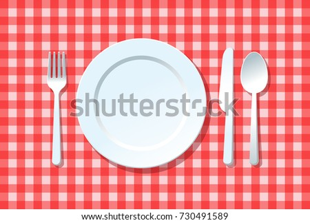 Dish fork knife and spoon on red square tablecloth, Dining concept idea, Vector illustration