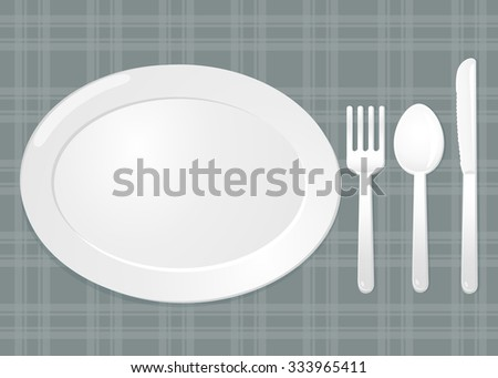 Dish set. Spoon fork and knife.