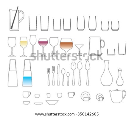 dishes and cups wine glass collection - stock vector