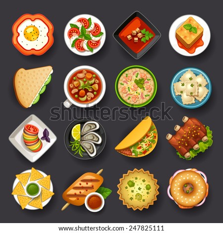 dishes icon set-2 - stock vector