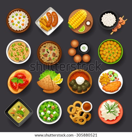 dishes icon set-4 - stock vector