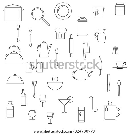 Dishes icons set. Line art style. Illustration for logo, brochure and other printing and web projects. - stock vector