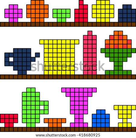 Dishes on a shelf pixel - stock vector