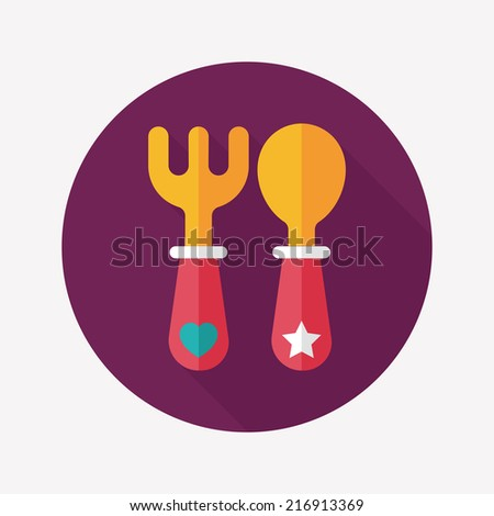 dishware and cutlery flat icon with long shadow,eps10 - stock vector