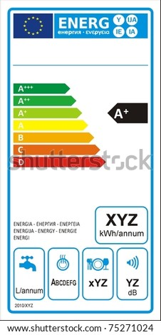 Dishwasher machine energy rating graph label in vector. - stock vector