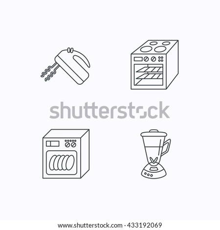 Dishwasher, oven and mixer icons. Blender linear sign. Flat linear icons on white background. Vector