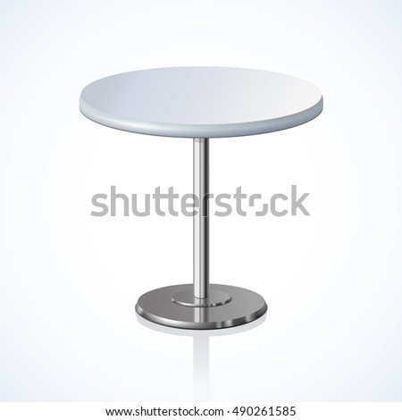 Disk shape grey color stylish 3d board pedestal stand on one solid shiny foot. Club concept object. Close-up view with space for text on light backdrop