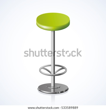 Disk Shape Vivid Lime Color Stylish 3d Barstool Stand On One Foot Isolated  On White Backdrop