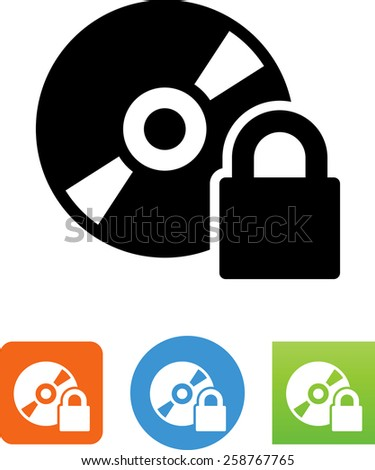 Disk with DRM protection. Vector icons for video, mobile apps, Web sites and print projects.  - stock vector