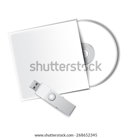 Disk with flash, mock up - stock vector