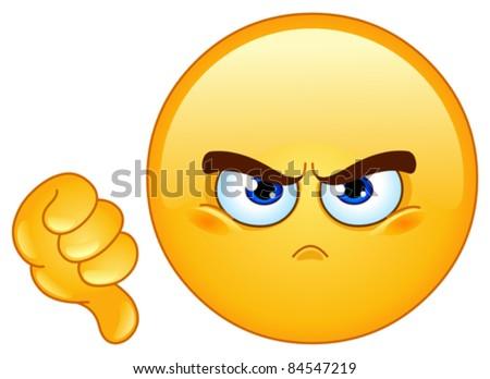 Dislike emoticon - stock vector