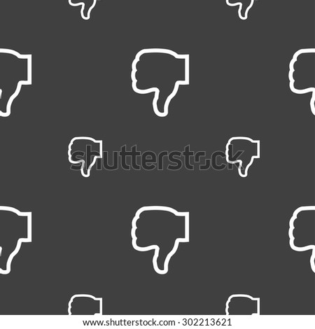 Dislike icon sign. Seamless pattern on a gray background. Vector illustration - stock vector