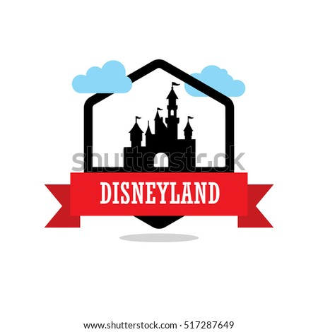 Disneyland Ribbon banner with clouds. Landmarks vector collection.