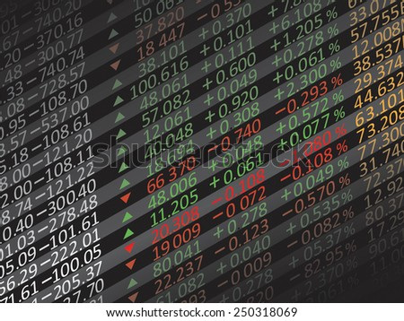 Display of Stock market quotes in China. - stock vector