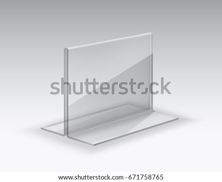 Acrylic Table Card Holder Isolated On Grey Background. Vector Empty Glass  Display